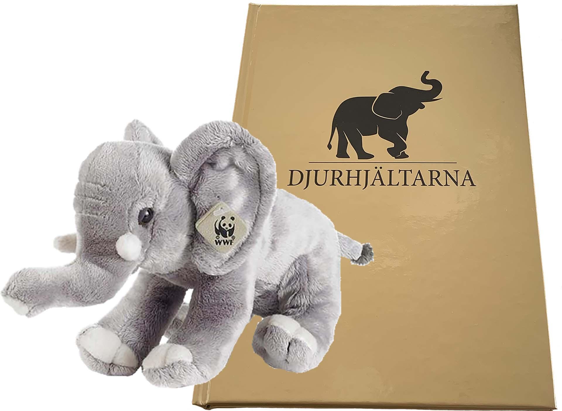 WWF-elefant 18 cm och Djurhjältarboken